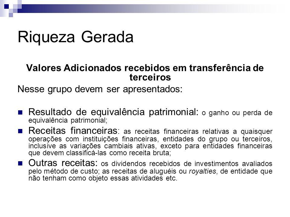 Riqueza Gerada Valores Adicionados recebidos em transferência de terceiros Nesse grupo devem ser apresentados: Resultado de equivalência patrimonial: