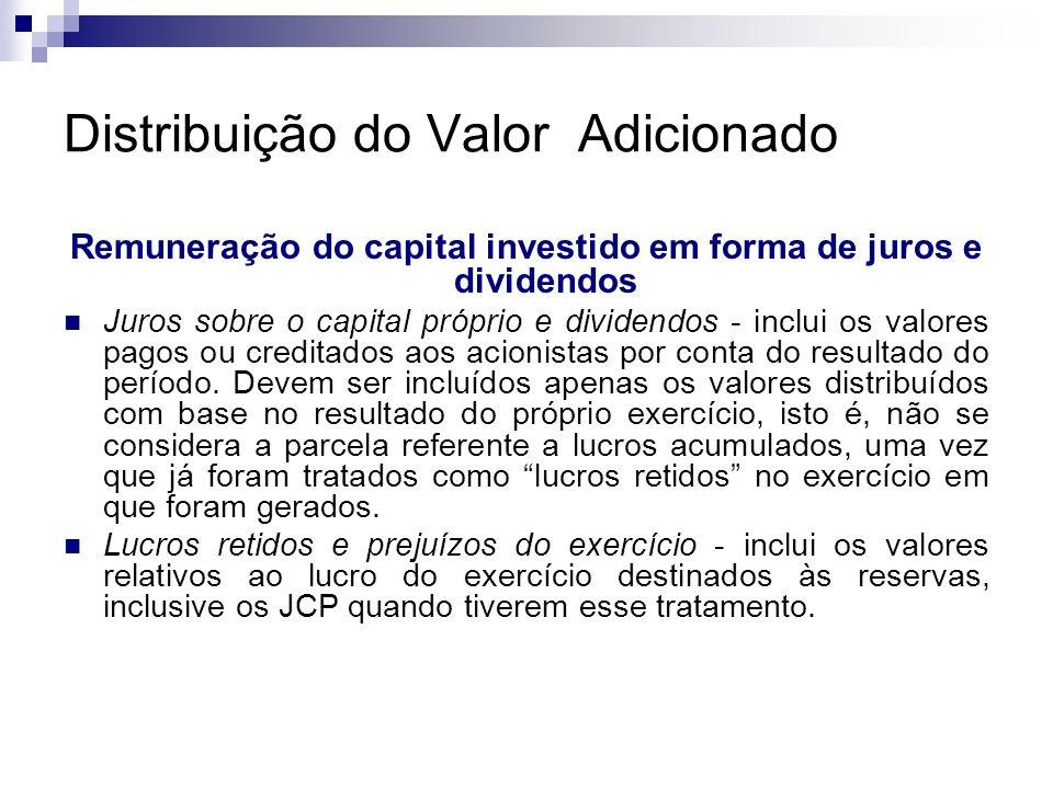 Distribuição do Valor Adicionado Remuneração do capital investido em forma de juros e dividendos Juros sobre o capital próprio e dividendos - inclui o