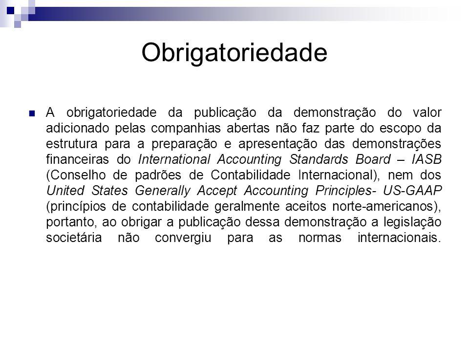 Obrigatoriedade A obrigatoriedade da publicação da demonstração do valor adicionado pelas companhias abertas não faz parte do escopo da estrutura para