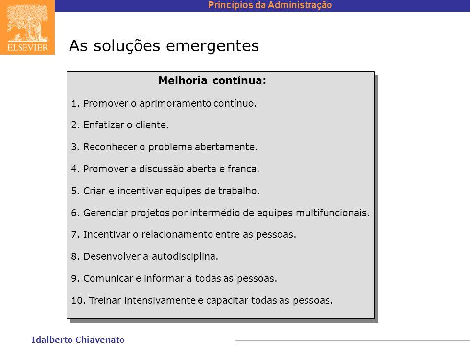 Princípios da Administração Idalberto Chiavenato As soluções emergentes Melhoria contínua: 1. Promover o aprimoramento contínuo. 2. Enfatizar o client