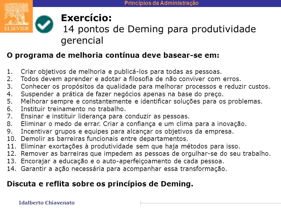 Princípios da Administração Idalberto Chiavenato Exercício: 14 pontos de Deming para produtividade gerencial O programa de melhoria contínua deve basear-se em: 1.Criar objetivos de melhoria e publicá-los para todas as pessoas.