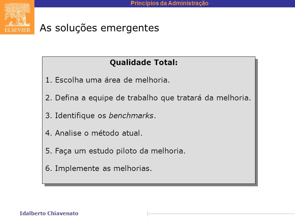 Princípios da Administração Idalberto Chiavenato As soluções emergentes Qualidade Total: 1. Escolha uma área de melhoria. 2. Defina a equipe de trabal