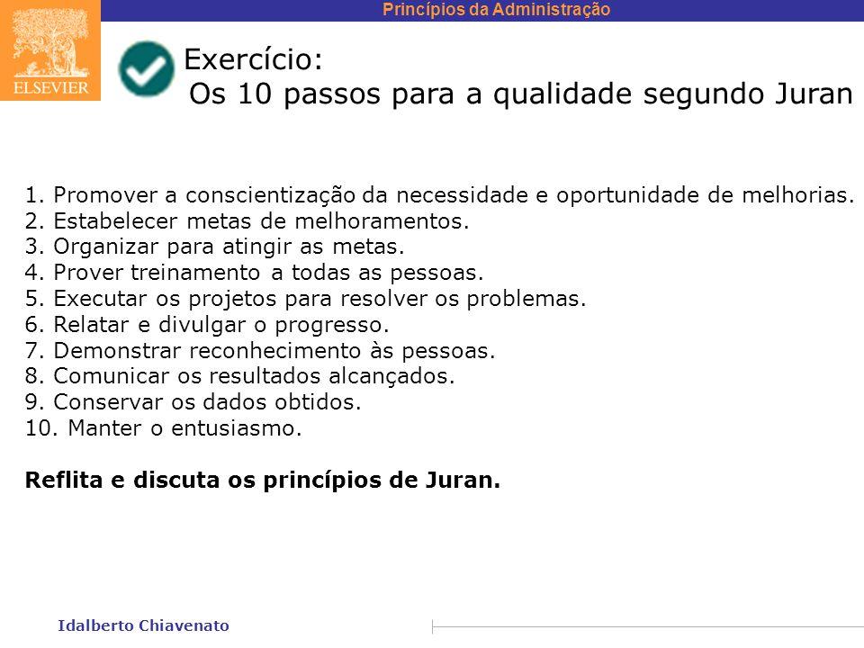Princípios da Administração Idalberto Chiavenato Exercício: Os 10 passos para a qualidade segundo Juran 1. Promover a conscientização da necessidade e