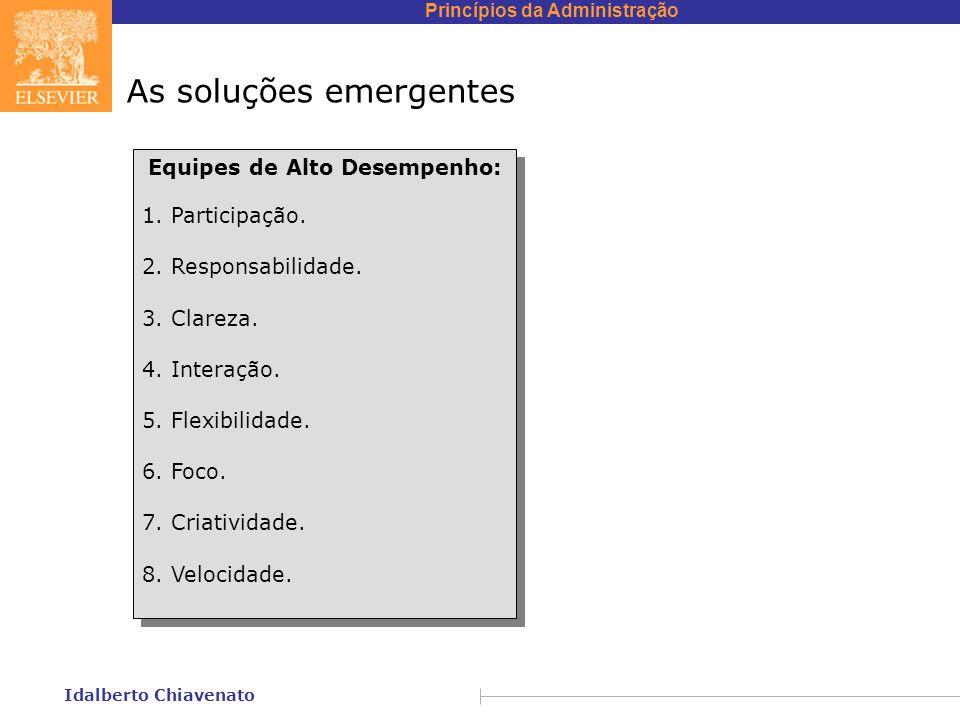 Princípios da Administração Idalberto Chiavenato As soluções emergentes Equipes de Alto Desempenho: 1. Participação. 2. Responsabilidade. 3. Clareza.