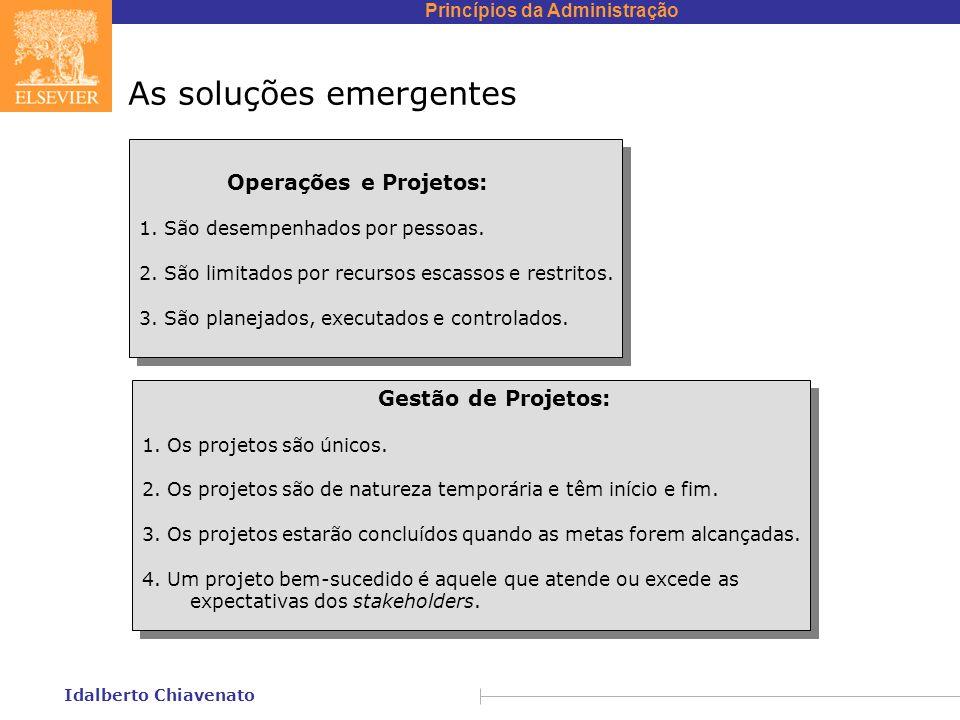 Princípios da Administração Idalberto Chiavenato As soluções emergentes Operações e Projetos: 1. São desempenhados por pessoas. 2. São limitados por r