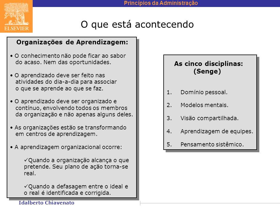 Princípios da Administração Idalberto Chiavenato O que está acontecendo Organizações de Aprendizagem: O conhecimento não pode ficar ao sabor do acaso.
