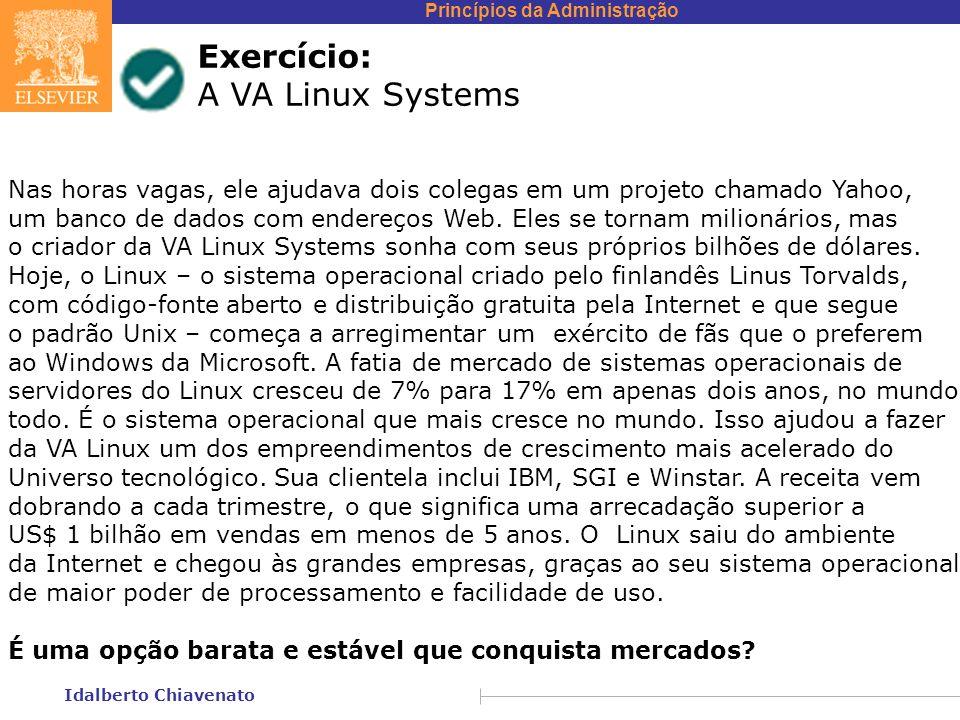 Princípios da Administração Idalberto Chiavenato Exercício: A VA Linux Systems Nas horas vagas, ele ajudava dois colegas em um projeto chamado Yahoo,