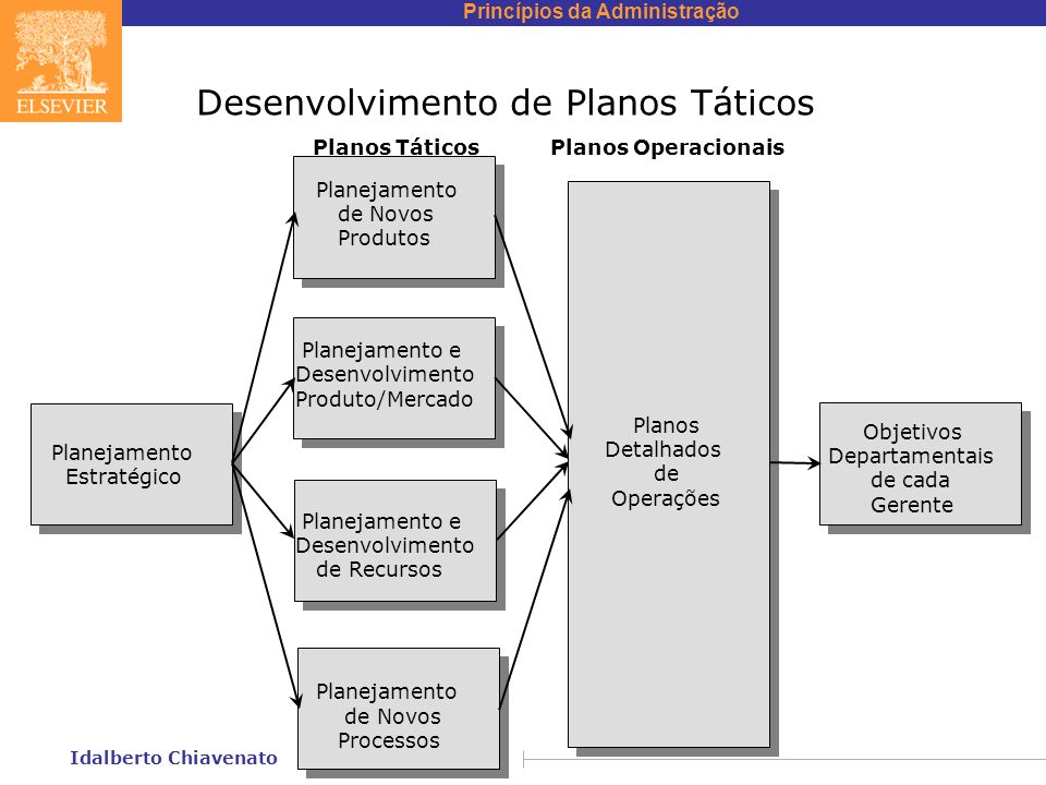 Princípios da Administração Idalberto Chiavenato Desenvolvimento de Planos Táticos Planejamento Estratégico Planos Táticos Planos Operacionais Planejamento de Novos Produtos Planejamento e Desenvolvimento Produto/Mercado Planejamento e Desenvolvimento de Recursos Planejamento de Novos Processos Planos Detalhados de Operações Objetivos Departamentais de cada Gerente
