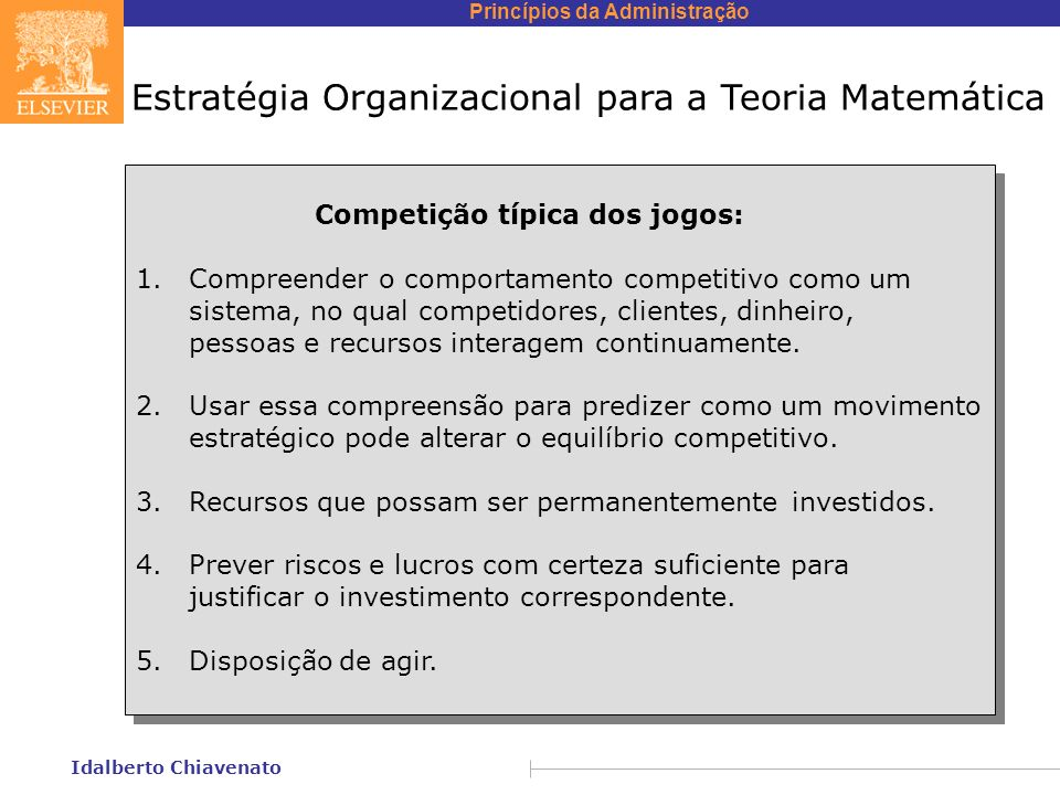 Princípios da Administração Idalberto Chiavenato Estratégia Organizacional para a Teoria Matemática Competição típica dos jogos: 1. Compreender o comp
