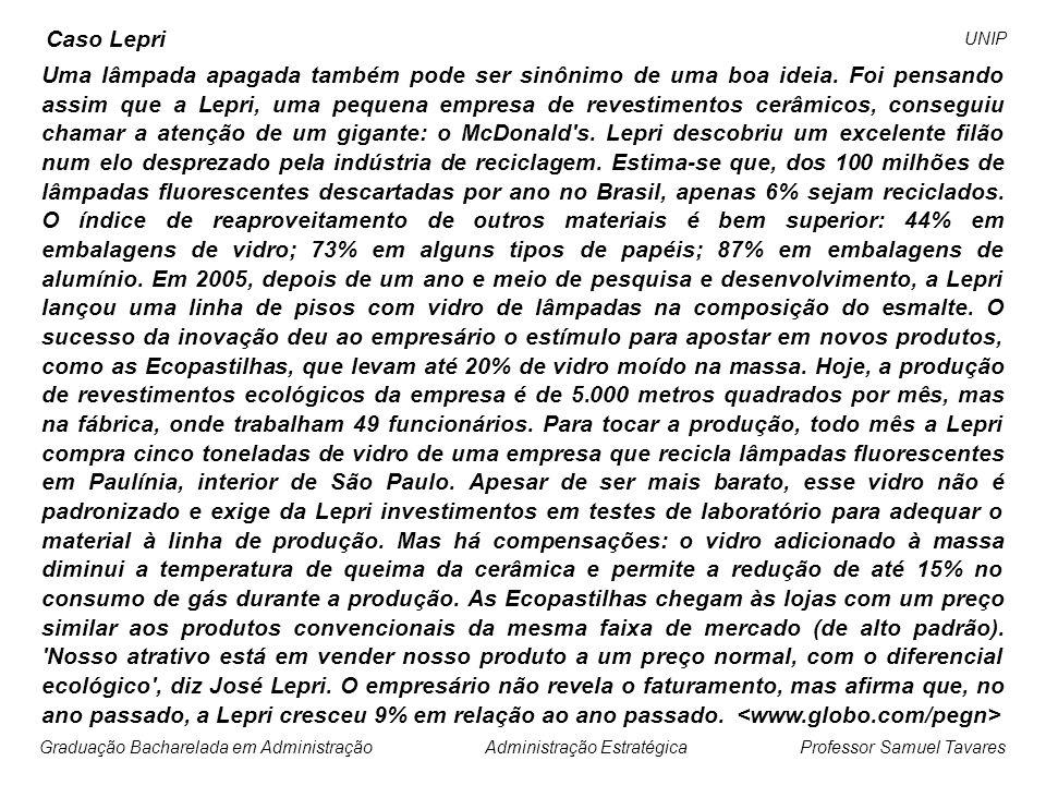 Professor Samuel Tavares Administração EstratégicaGraduação Bacharelada em Administração UNIP O braço brasileiro da multinacional Verallia coloca no mercado esta semana garrafas de vidro que poluem menos.