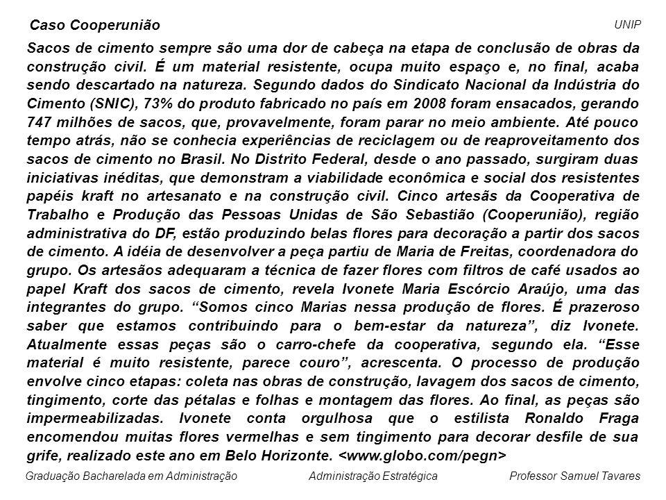 Professor Samuel Tavares Administração EstratégicaGraduação Bacharelada em Administração UNIP Caso Cemex...