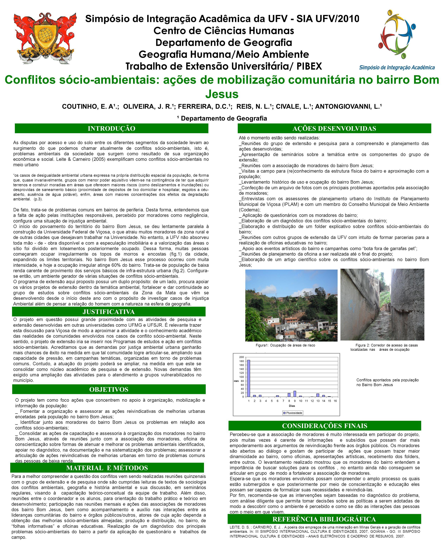 Simpósio de Integração Acadêmica da UFV - SIA UFV/2010. Centro de Ciências Humanas Departamento de Geografia Geografia Humana/Meio Ambiente Trabalho d