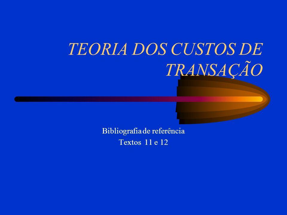 TEORIA DOS CUSTOS DE TRANSAÇÃO Bibliografia de referência Textos 11 e 12
