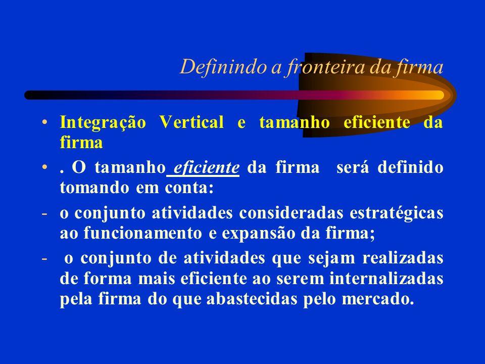 Definindo a fronteira da firma Integração Vertical e tamanho eficiente da firma. O tamanho eficiente da firma será definido tomando em conta: -o conju
