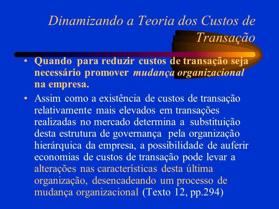 Dinamizando a Teoria dos Custos de Transação Quando para reduzir custos de transação seja necessário promover mudança organizacional na empresa. Assim