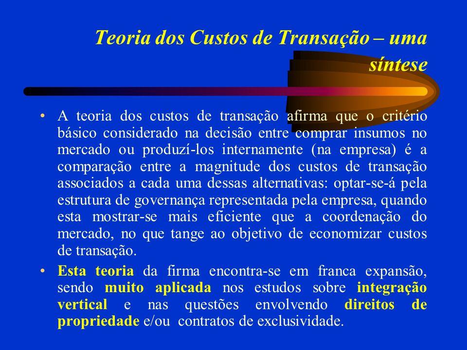 Teoria dos Custos de Transação – uma síntese A teoria dos custos de transação afirma que o critério básico considerado na decisão entre comprar insumo