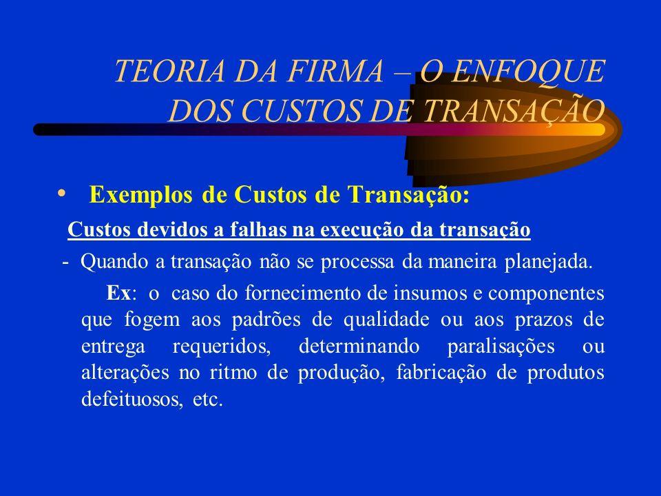 TEORIA DA FIRMA – O ENFOQUE DOS CUSTOS DE TRANSAÇÃO Exemplos de Custos de Transação: Custos devidos a falhas na execução da transação - Quando a trans