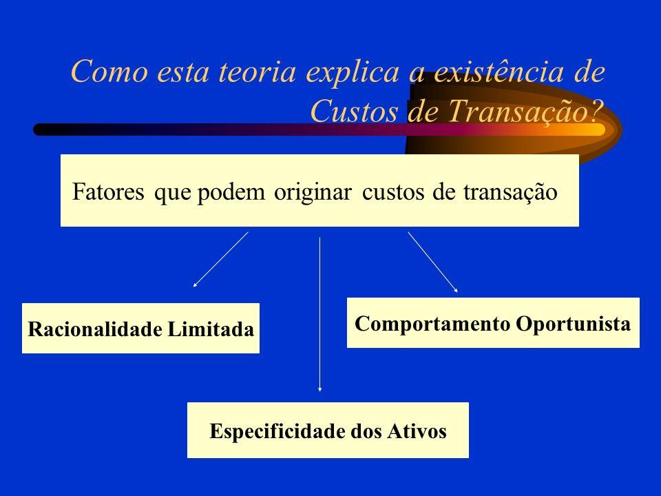 Como esta teoria explica a existência de Custos de Transação? Racionalidade Limitada Comportamento Oportunista Fatores que podem originar custos de tr