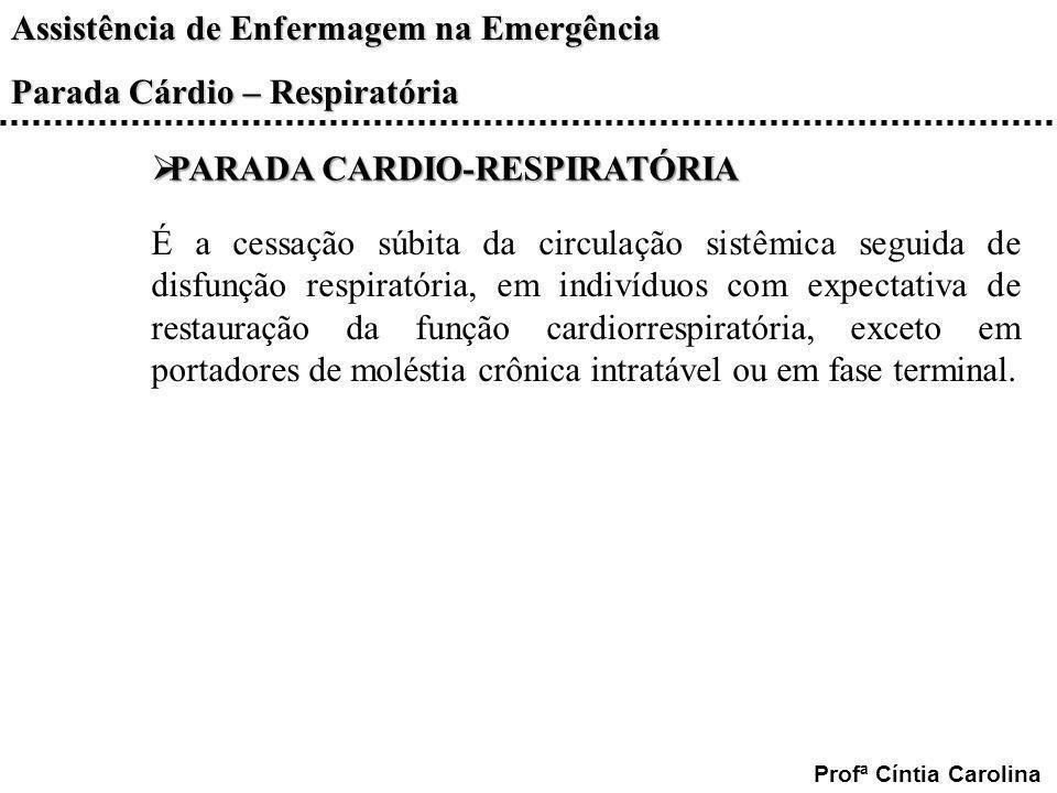 Assistência de Enfermagem na Emergência Parada Cárdio – Respiratória Profª Cíntia Carolina PARADA CARDIO-RESPIRATÓRIA PARADA CARDIO-RESPIRATÓRIA É a c