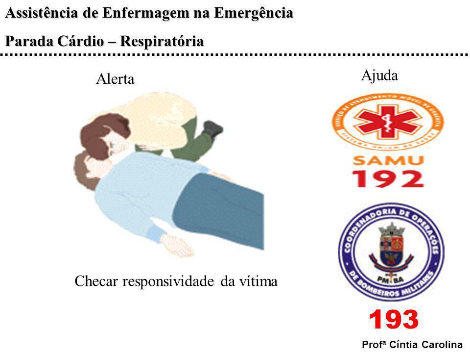 Assistência de Enfermagem na Emergência Parada Cárdio – Respiratória Profª Cíntia Carolina Alerta Checar responsividade da vítima Ajuda 193