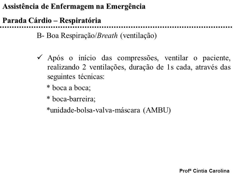 Assistência de Enfermagem na Emergência Parada Cárdio – Respiratória Profª Cíntia Carolina B- Boa Respiração/Breath (ventilação) Após o início das com