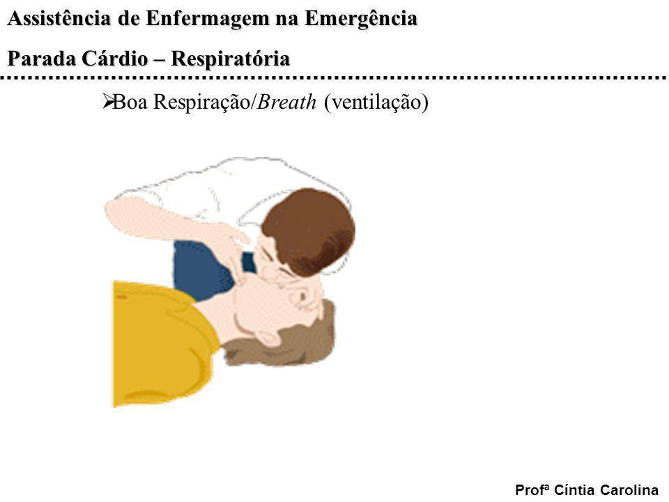 Assistência de Enfermagem na Emergência Parada Cárdio – Respiratória Profª Cíntia Carolina Boa Respiração/Breath (ventilação)
