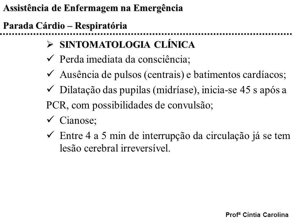 Assistência de Enfermagem na Emergência Parada Cárdio – Respiratória Profª Cíntia Carolina SINTOMATOLOGIA CLÍNICA SINTOMATOLOGIA CLÍNICA Perda imediat