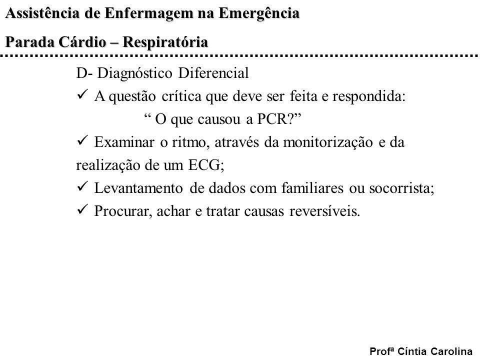 Assistência de Enfermagem na Emergência Parada Cárdio – Respiratória Profª Cíntia Carolina D- Diagnóstico Diferencial A questão crítica que deve ser f