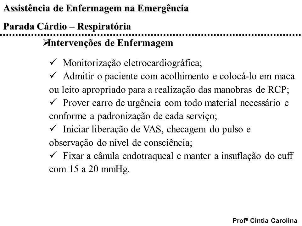 Assistência de Enfermagem na Emergência Parada Cárdio – Respiratória Profª Cíntia Carolina Intervenções de Enfermagem Monitorização eletrocardiográfic