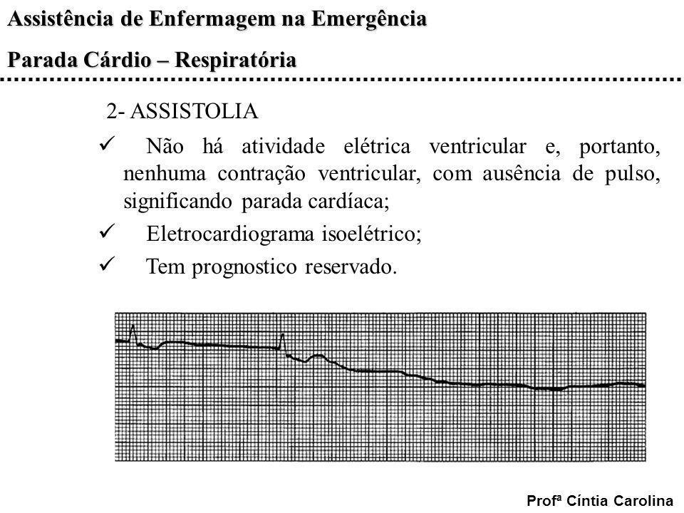 Assistência de Enfermagem na Emergência Parada Cárdio – Respiratória Profª Cíntia Carolina 2- ASSISTOLIA Não há atividade elétrica ventricular e, port