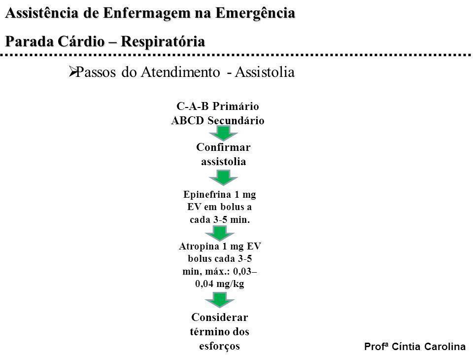 Assistência de Enfermagem na Emergência Parada Cárdio – Respiratória Profª Cíntia Carolina C-A-B Primário ABCD Secundário Confirmar assistolia Epinefr