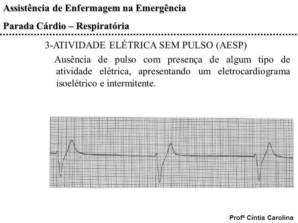 Assistência de Enfermagem na Emergência Parada Cárdio – Respiratória Profª Cíntia Carolina 3-ATIVIDADE ELÉTRICA SEM PULSO (AESP) Ausência de pulso com