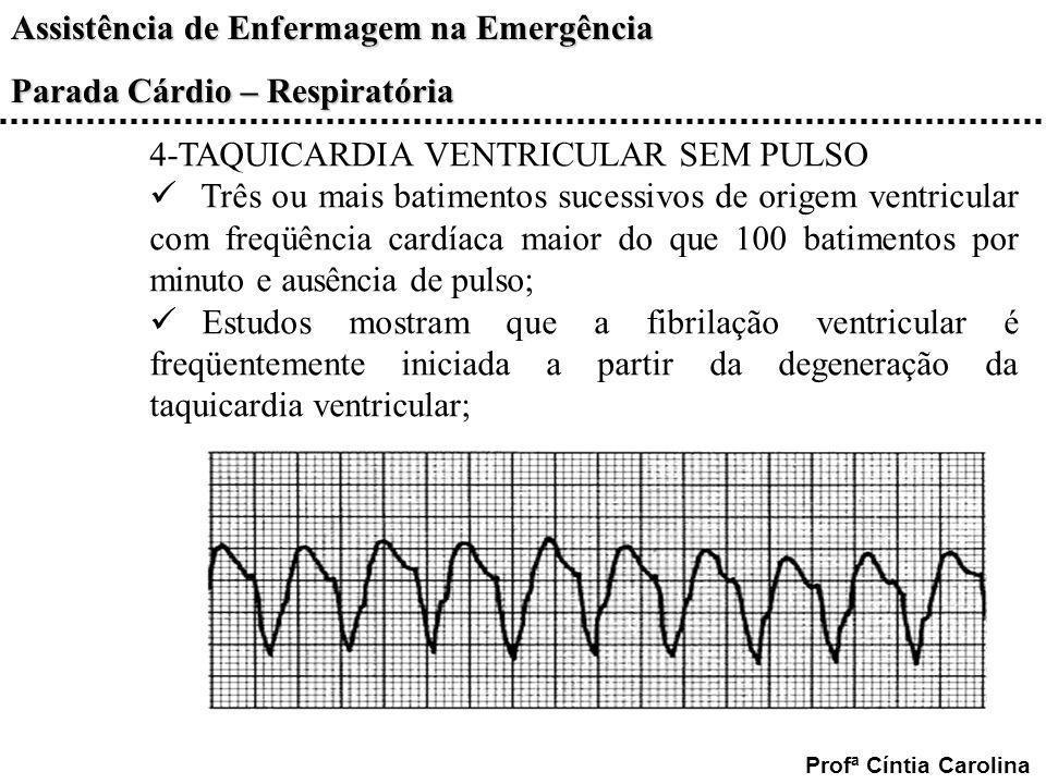 Assistência de Enfermagem na Emergência Parada Cárdio – Respiratória Profª Cíntia Carolina 4-TAQUICARDIA VENTRICULAR SEM PULSO Três ou mais batimentos