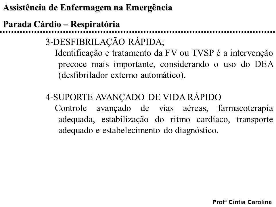 Assistência de Enfermagem na Emergência Parada Cárdio – Respiratória Profª Cíntia Carolina 3-DESFIBRILAÇÃO RÁPIDA; Identificação e tratamento da FV ou