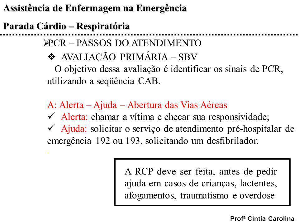 Assistência de Enfermagem na Emergência Parada Cárdio – Respiratória Profª Cíntia Carolina PCR – PASSOS DO ATENDIMENTO AVALIAÇÃO PRIMÁRIA – SBV O obje