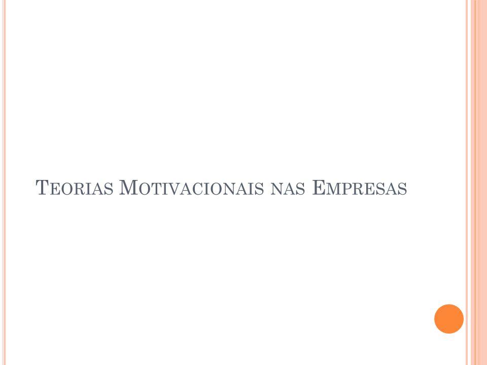 T EORIAS M OTIVACIONAIS NAS E MPRESAS