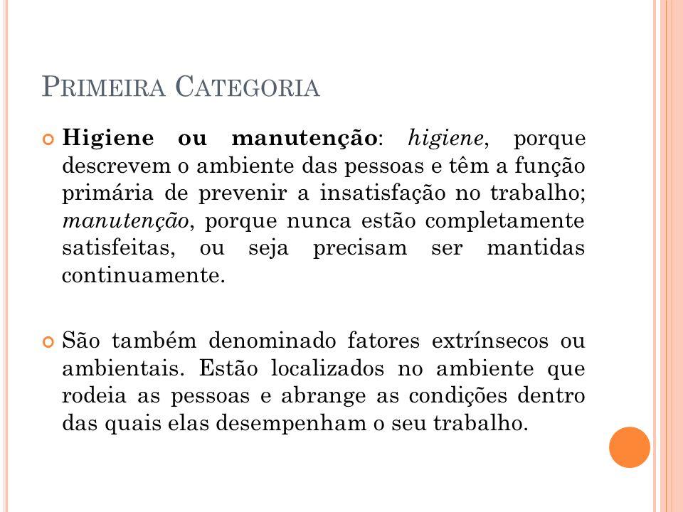 P RIMEIRA C ATEGORIA Higiene ou manutenção : higiene, porque descrevem o ambiente das pessoas e têm a função primária de prevenir a insatisfação no tr