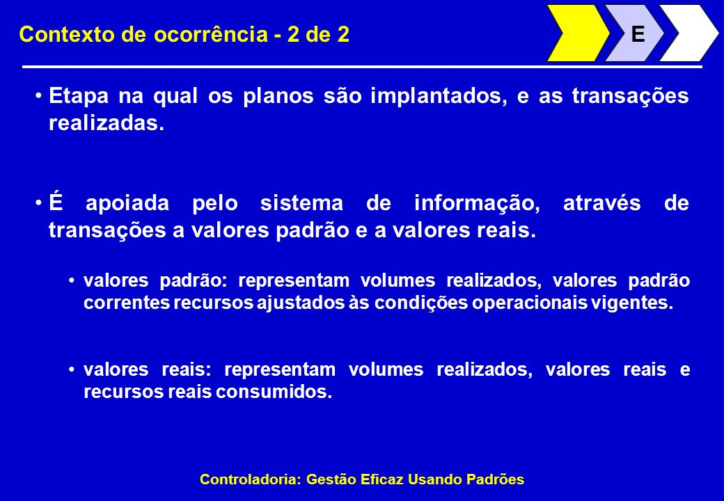 Controladoria: Gestão Eficaz Usando Padrões Contexto de ocorrência - 2 de 2 Etapa na qual os planos são implantados, e as transações realizadas. EE É