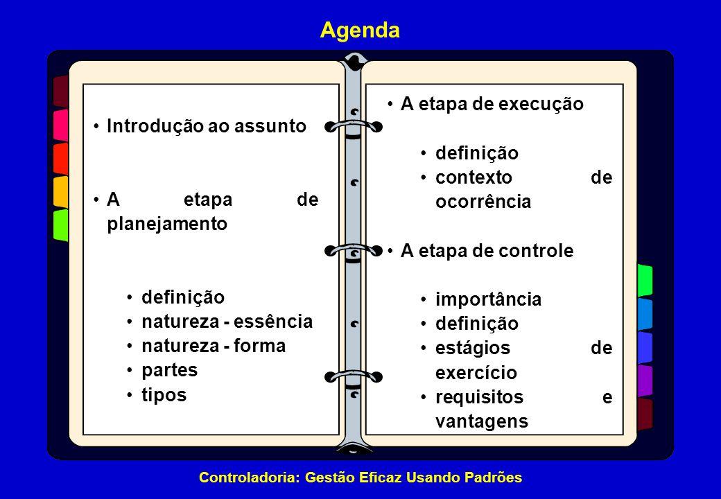 Controladoria: Gestão Eficaz Usando Padrões Agenda Introdução ao assunto A etapa de planejamento definição natureza - essência natureza - forma partes