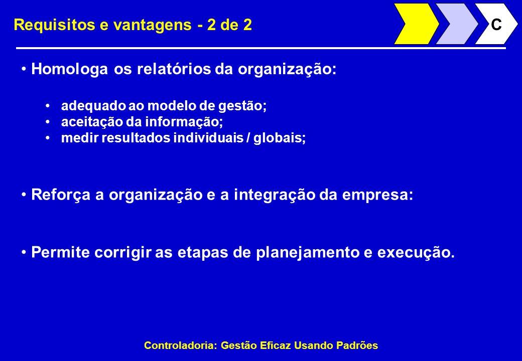 Controladoria: Gestão Eficaz Usando Padrões Requisitos e vantagens - 2 de 2 Homologa os relatórios da organização: adequado ao modelo de gestão; aceit