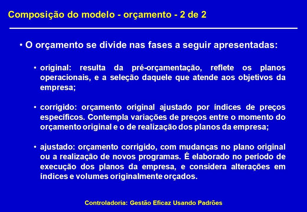 Controladoria: Gestão Eficaz Usando Padrões Composição do modelo - orçamento - 2 de 2 O orçamento se divide nas fases a seguir apresentadas: original: