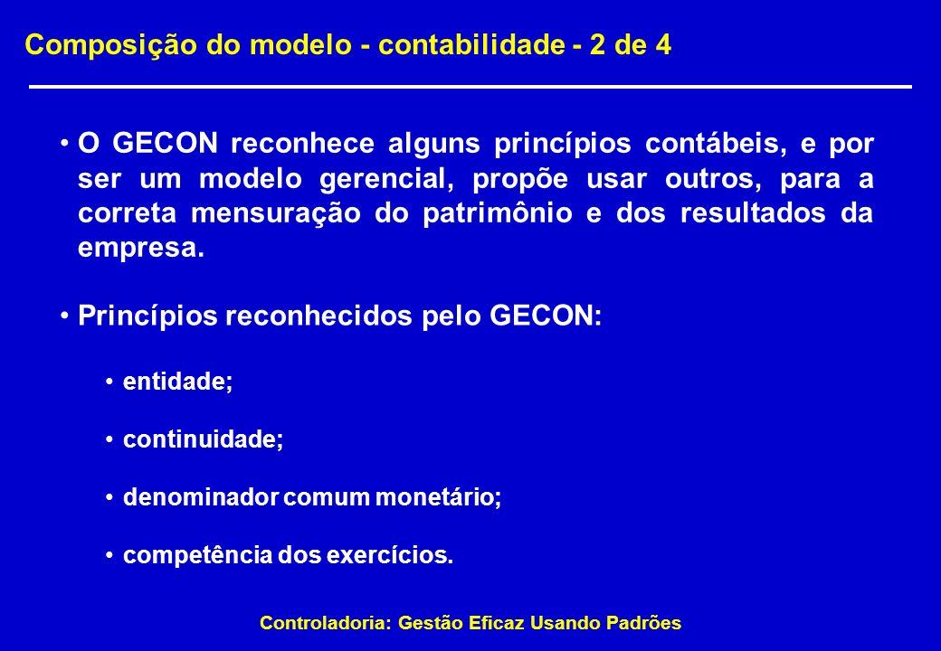 Controladoria: Gestão Eficaz Usando Padrões Composição do modelo - contabilidade - 2 de 4 O GECON reconhece alguns princípios contábeis, e por ser um