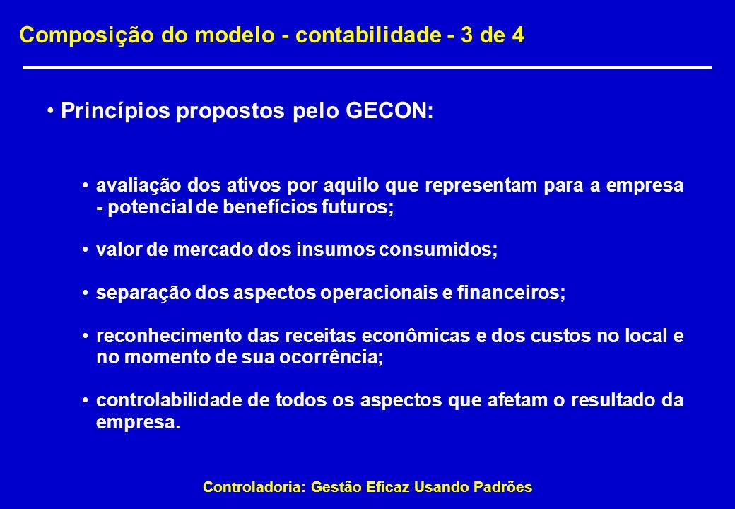 Controladoria: Gestão Eficaz Usando Padrões Composição do modelo - contabilidade - 3 de 4 Princípios propostos pelo GECON: avaliação dos ativos por aq