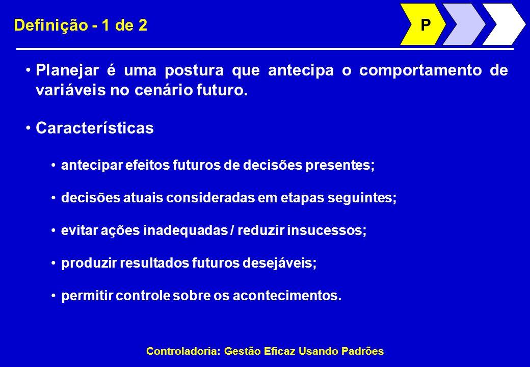 Controladoria: Gestão Eficaz Usando Padrões Definição - 1 de 2 Planejar é uma postura que antecipa o comportamento de variáveis no cenário futuro. P C