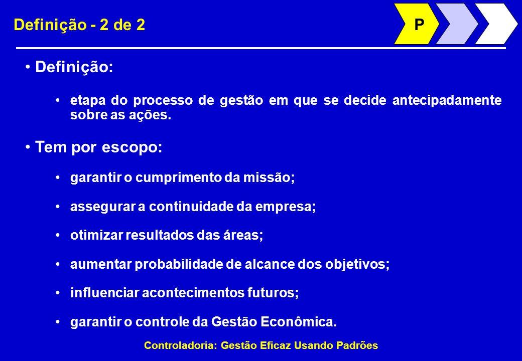 Controladoria: Gestão Eficaz Usando Padrões Definição - 2 de 2 Definição: etapa do processo de gestão em que se decide antecipadamente sobre as ações.