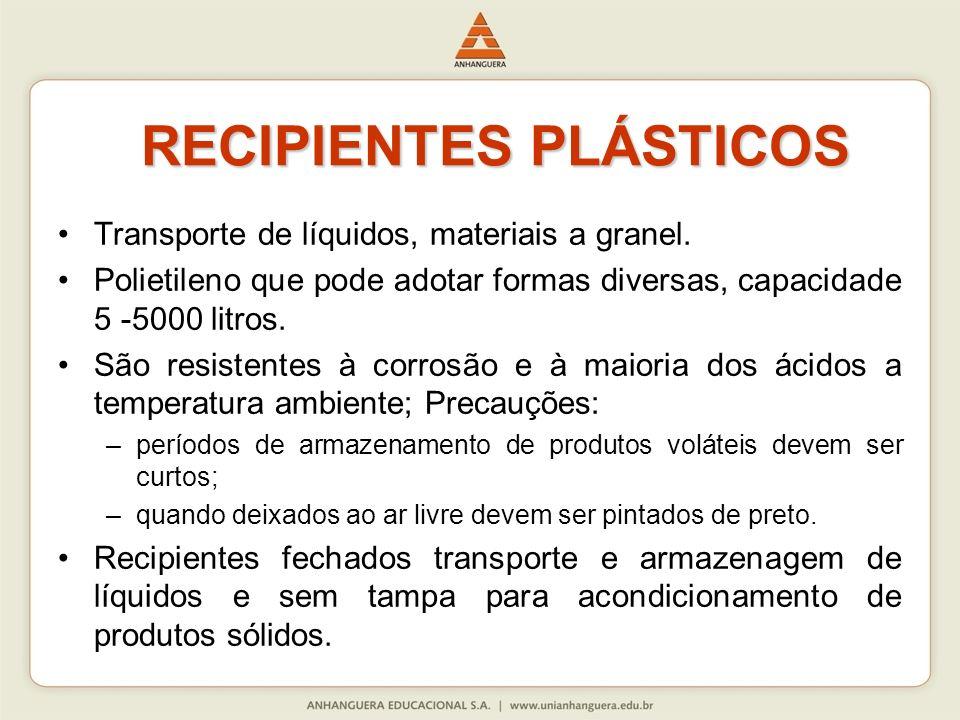RECIPIENTES PLÁSTICOS RECIPIENTES PLÁSTICOS Transporte de líquidos, materiais a granel. Polietileno que pode adotar formas diversas, capacidade 5 -500