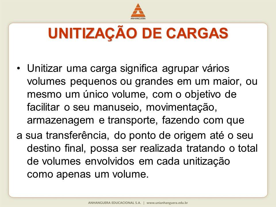 UNITIZAÇÃO DE CARGAS Unitizar uma carga significa agrupar vários volumes pequenos ou grandes em um maior, ou mesmo um único volume, com o objetivo de