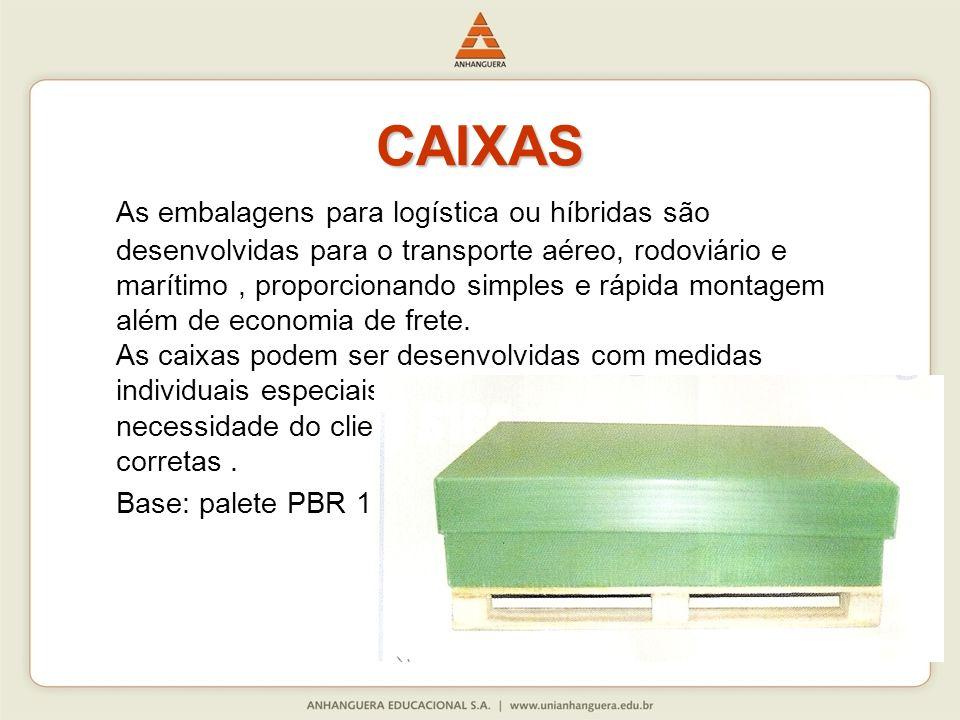 CAIXAS As embalagens para logística ou híbridas são desenvolvidas para o transporte aéreo, rodoviário e marítimo, proporcionando simples e rápida mont