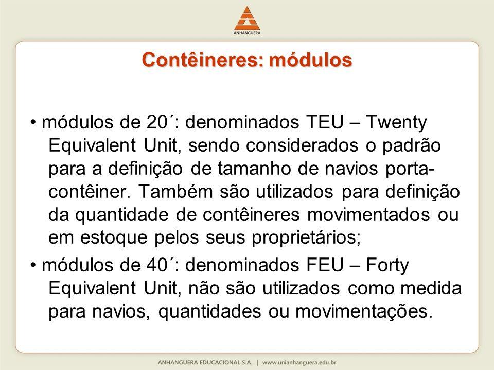 Contêineres: módulos módulos de 20´: denominados TEU – Twenty Equivalent Unit, sendo considerados o padrão para a definição de tamanho de navios porta