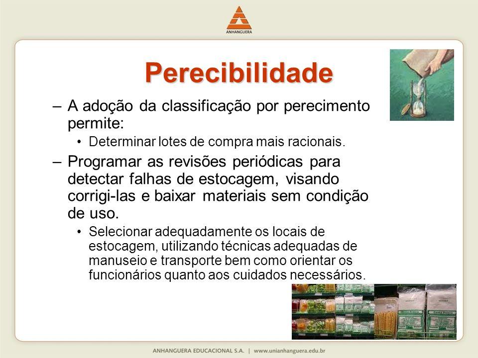 –A adoção da classificação por perecimento permite: Determinar lotes de compra mais racionais. –Programar as revisões periódicas para detectar falhas